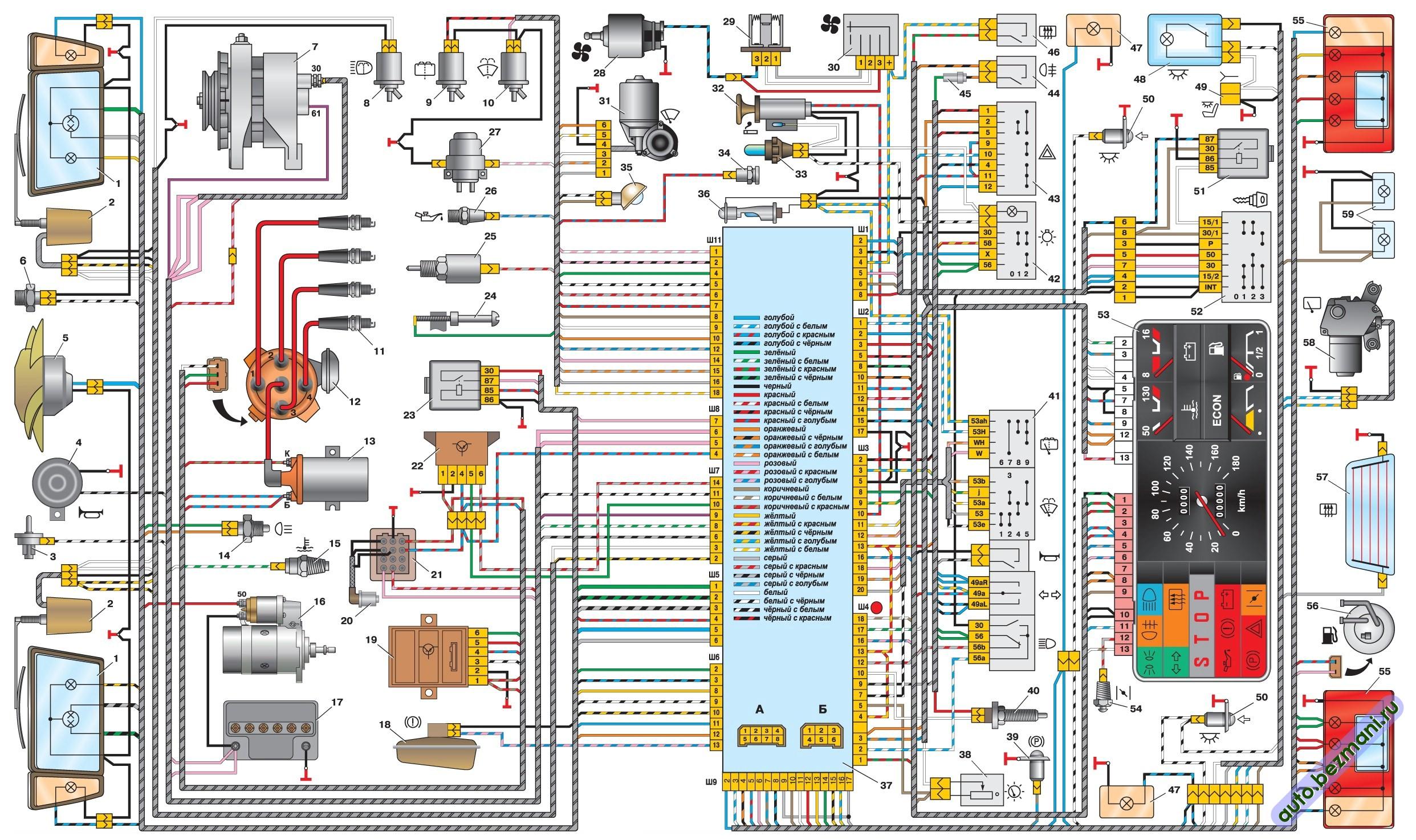 электрическая схема автомобилей ВАЗ-2108, ВАЗ-2109, ВАЗ-21099. низкая панель приборов