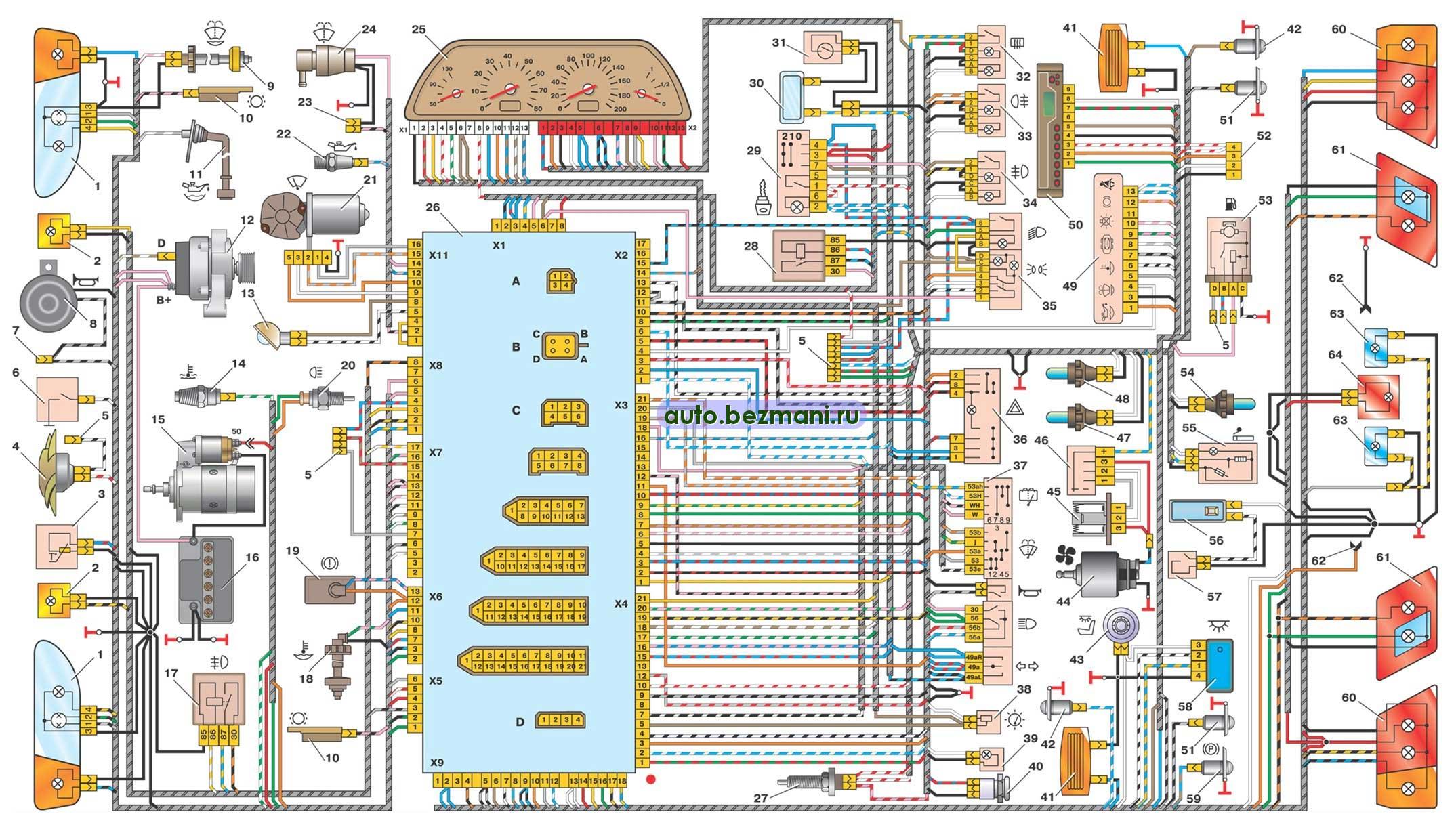 Схема проводки панели на 21015