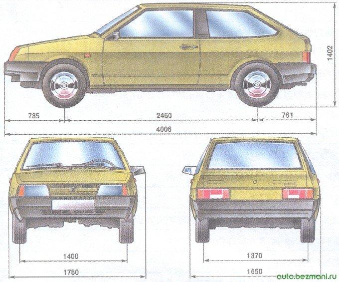 габаритные размеры автомобиля ваз 2108