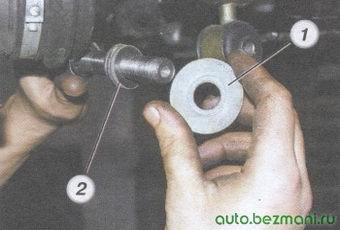 (1) специальная шайба растяжки - (2) пакет регулировочных шайб растяжки