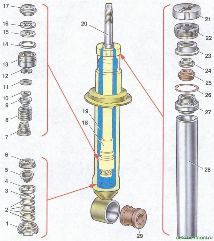 устройство заднего амортизатора автомобиля ваз 2108, ваз 2109, ваз 21099