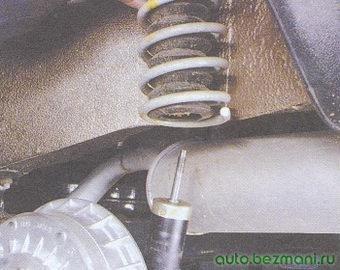 задняя пружина с защитным чехлом, крышкой и буфером сжатия