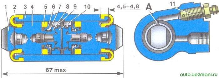 задний колесный тормозной цилиндр автомобилей ваз 2108, ваз 2109, ваз 21099