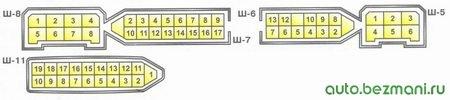 нумерация штекеров в колодках монтажного блока ваз 2108, ваз 2109, ваз 21099