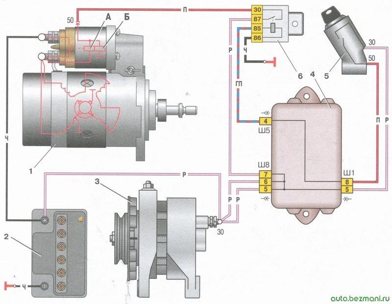 схема соединений стартера автомобили ваз 2108, ваз 2109, ваз 21099