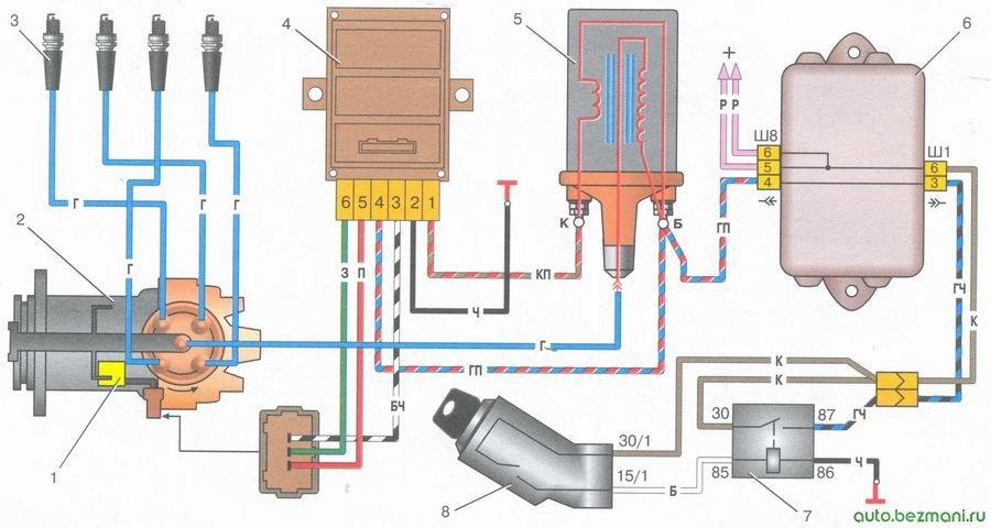 схема бесконтактной системы зажигания автомобили ваз 2108, ваз 2109, ваз 21099