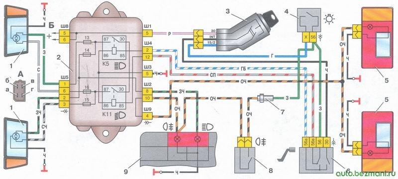 схема включения фар и противотуманного света на автомобиле ваз 2108, ваз 2109, ваз 21099