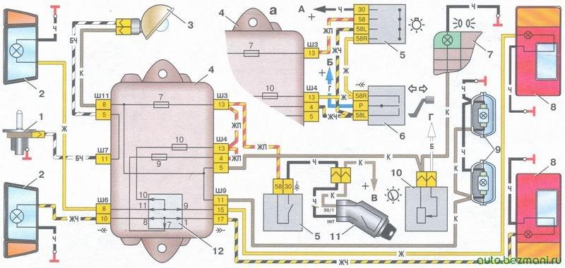 схема включения наружного освещения с фрагментом (а) схемы соединений системы стояночного света (для автомобилей ваз 2108, ваз 2109, ваз 21099 выпуска до 1988 г.)