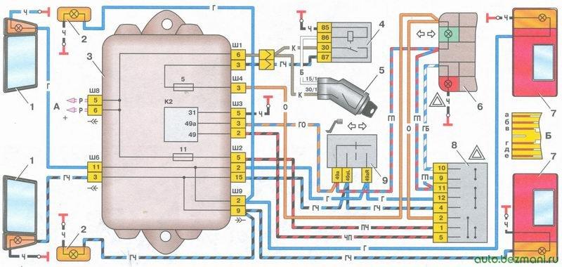 схема включения указателей поворота и аварийной сигнализации на автомобиле ваз 2108, ваз 2109, ваз 21099