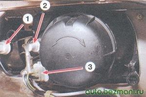1 - разъем проводов указателя поворота; 2 - гидрокорректор; 3 - разъем проводов фары