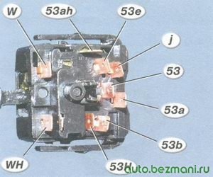 номера контактов переключателя стеклоочистителя и омывателя типа 70.3709