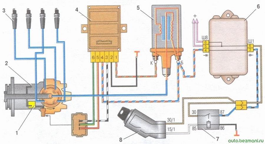 схема бесконтактной системы зажигания ваз 2108, ваз 2109, ваз 21099