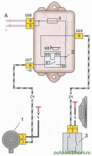 схема включения звукового сигнала на автомобилях ваз 2108, ваз 2109, ваз 21099