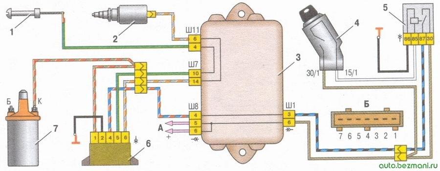 система управления электромагнитным клапаном карбюратора ваз 2108, ваз 2109, ваз 21099
