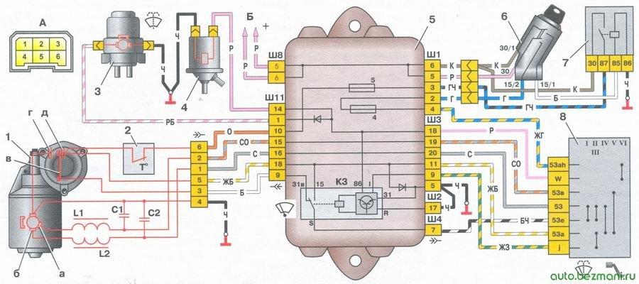 схема включения стеклоочистителя и омывателя ветрового стекла на автомобиле ваз 2108, ваз 2109, ваз 21099