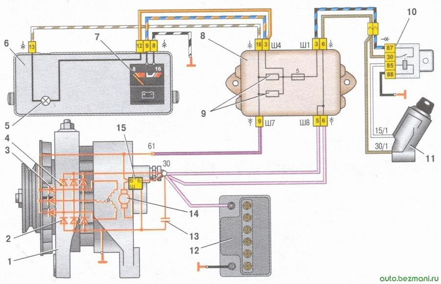 схема соединений генератора ваз 2108, ваз 2109, ваз 21099