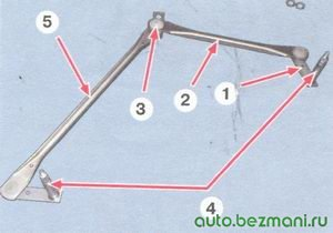 1 - кривошип; 2 - короткая тяга; 3 - шарнир тяг; 4 - валик механизма стеклоочистителя; 5 - длинная тяга