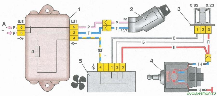 схема включения электродвигателя вентилятора отопителя салона на автомобиле ваз 2108, ваз 2109, ваз 21099