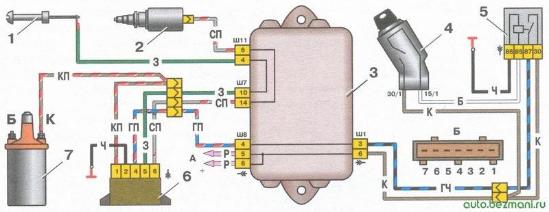 система управления электромагнитным клапаном карбюратора ЭПХХ ваз 2108, ваз 2109, ваз 21099