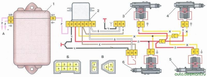 схема системы блокировки замков дверей ваз 21093
