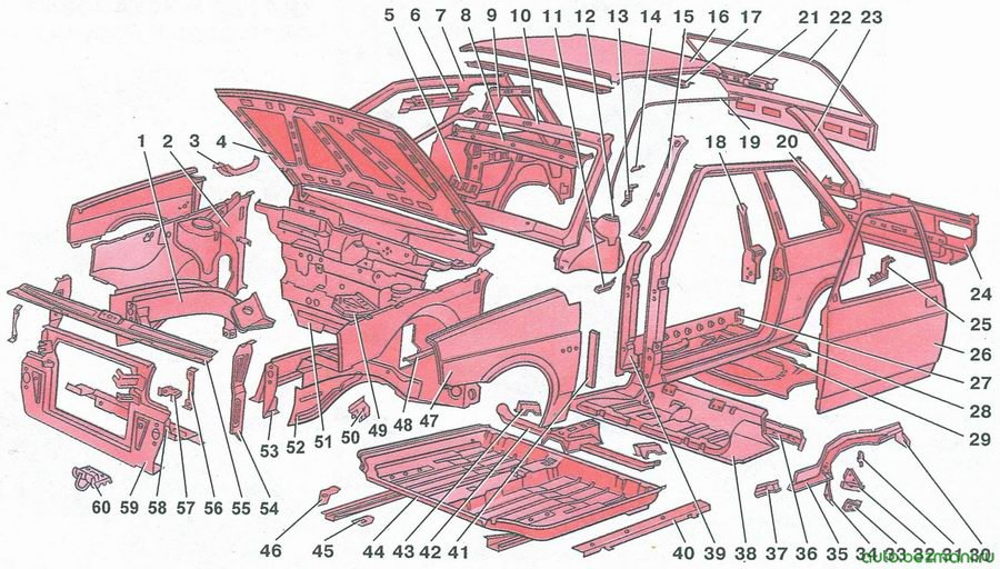 детали каркаса кузова автомобиля ваз 2108