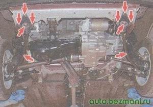 проверка кронштейнов крепления растяжек к кузову автомобиля ваз 2108, ваз 2109, ваз 21099
