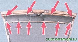 пистоны крепления обивки крышки багажника