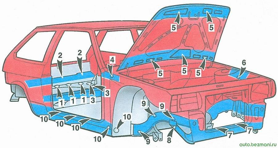 скрытые полости кузова ваз 2108 (вид спереди)