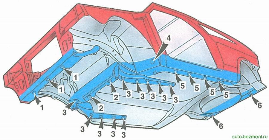 скрытые полости кузова ваз 2108 (вид снизу спереди)