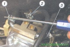 1 шланг слива охлаждающей жидкости из дроссельного патрубка - 2 шланг малой ветви вентиляции картера - 3 шланг подачи охлаждающей жидкости в дроссельный патрубок