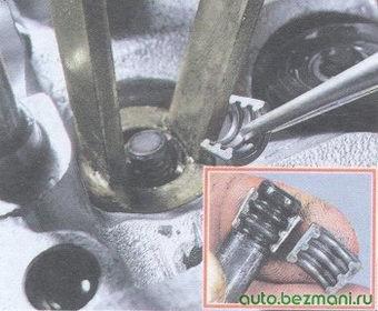 пружинка маслосъемного колпачка - тарелка клапана - сухари клапана
