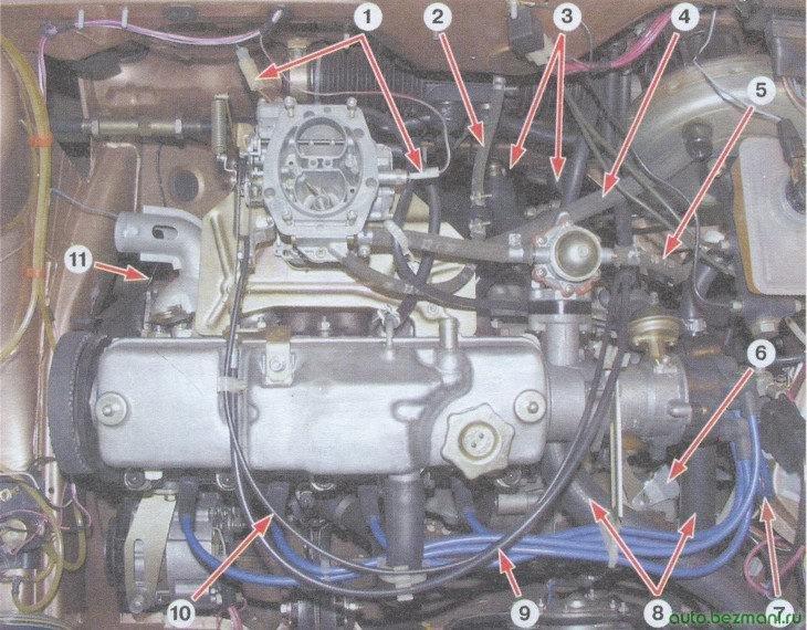 двигатель ваз 2108, ваз 2109, ваз 21099 (вид сверху)