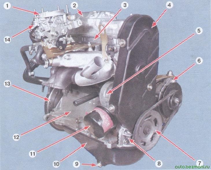 внешний вид двигателя ваз 2108, ваз 2109, ваз 21099