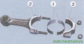 1 вкладыш - 2 шатун - 3 крышка шатуна