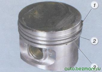 (1) верхнее компрессионное кольцо - (2) нижнее компрессионное кольцо - (3) маслосъемное кольцо