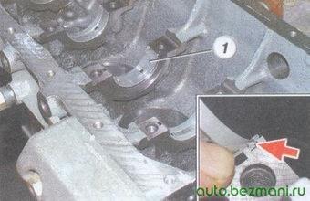 (1) вкладыш - постель блока цилиндров