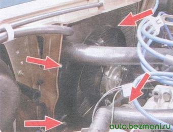 крепления кожуха электровентилятора радиатора