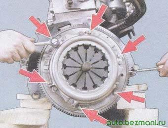 блокирование корзины сцепления при отворачивании болтов крепления сцепления