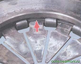 проверка состояние опорных колец нажимной пружины корзины сцепления