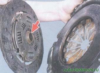 установка ведомого диска в корзину сцепления