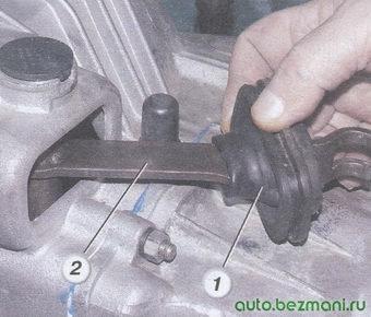 (1) резиновый защитный чехол вилки выключения сцепления - (2) рычаг вилки сцепления