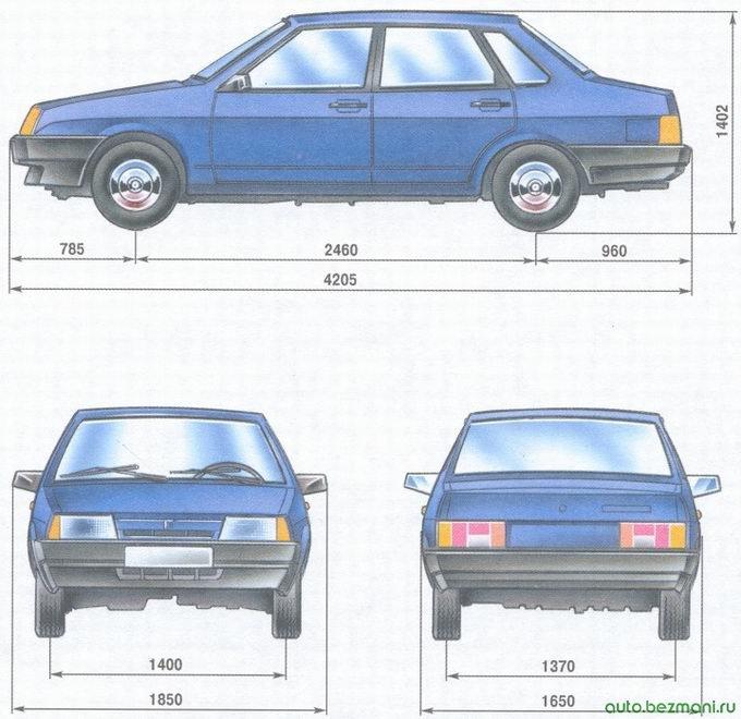 габаритные размеры автомобиля ваз 21099