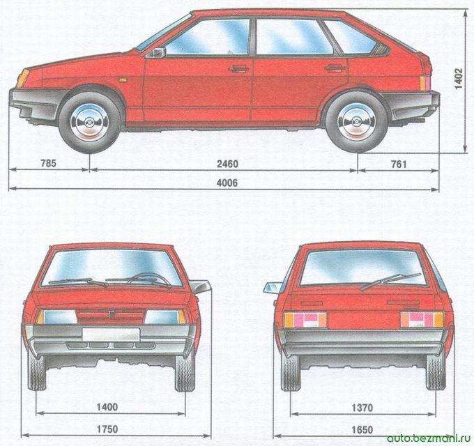 габаритные размеры автомобиля ваз 2109